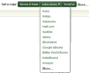 Kobo at the top of the list of online stores at Goodreads