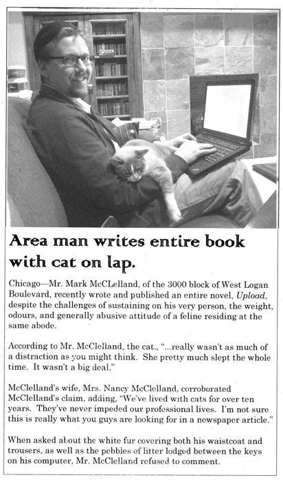 Area man writes entire book with cat on lap